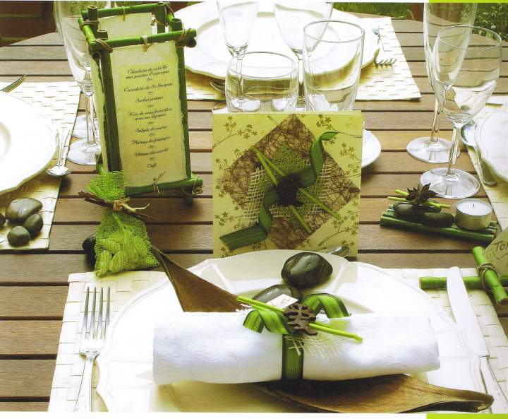 Mariage th me nature zen for Decoration de table zen bambou